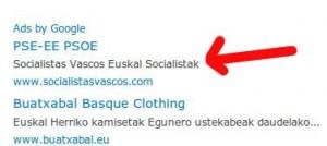 Euskal Socialistak publicidad de Google