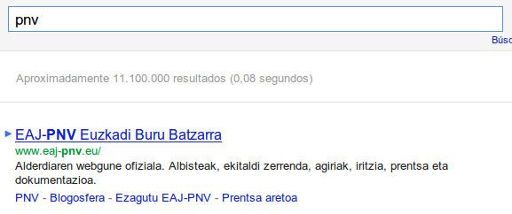 Búsqueda PNV en Google